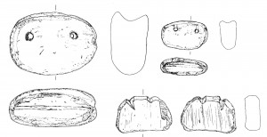 Examples of clay net weights and one re-cut sherd from SAV1N.