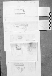Samples of paper copies of pottery drawings from Elephantine.