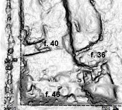Southwestern corner of Square 3: between features 40, 36 and 46 the highest concentration of schist plates was found (Digital surface model: M. Fera 2014).