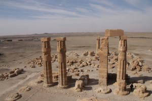 Some of the still standing columns of the peristyle court - closely resembling the ones of Amenhotep III at Luxor temple.