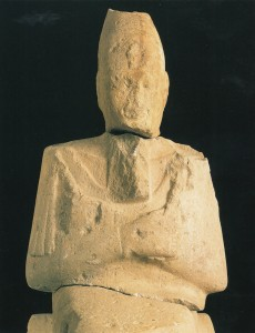 Upper part of the Ahmose Nebpehtyra statue from Sai, now in the Khartoum National Museum - its head was found a bit further south than the lower part (Davies 2004).