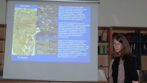 Miranda explaining some of her previous studies at sites in Syria.