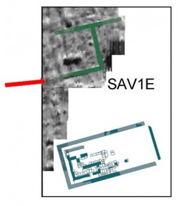 Plan of SAV1 East with Building A highlighted. The arrow marks our present working area.