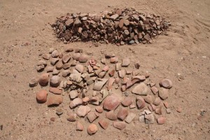 The sorting of the pottery fragments is undertaken at the site - wares and forms are counted, diagnostic pieces selected for further analysis.