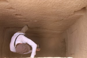 March 10: Martin using the ancient foot holes during the final SFM documentation.