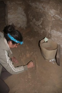 Marlies cleaning the area of of the skeleton where the scarab was found.
