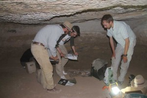 Final cleaning work & taking measurements in the burial chamber of tomb 26.